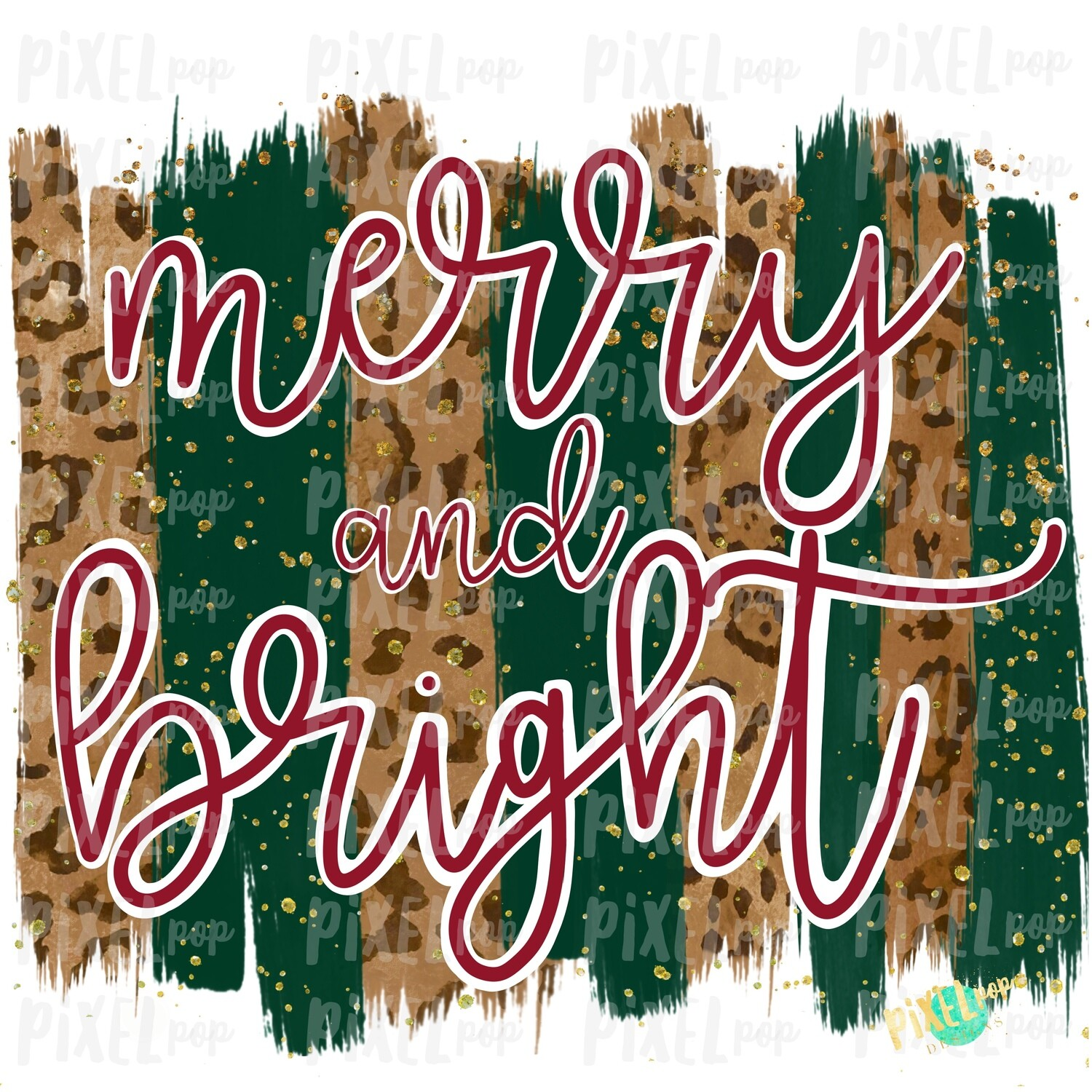 Christmas Leopard Merry and Bright Brush Stroke Background Sublimation PNG | Plaid Background | Holiday | Art | Digital Print | Printable | Clip Art