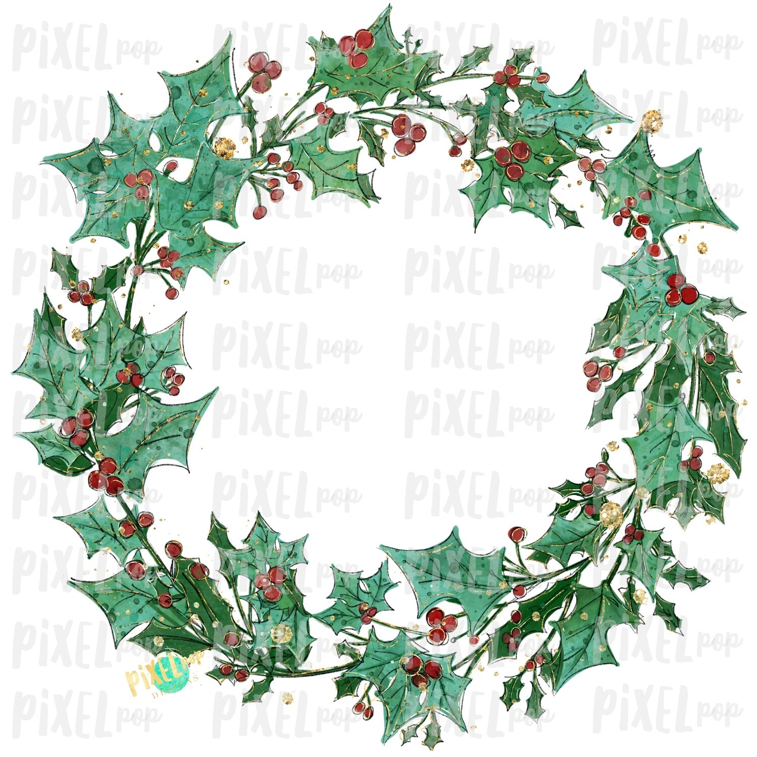 Glitter Holly Wreath Blank Watercolor Christmas Sublimation PNG | Hand Drawn Painted | Sublimation | Digital Download | Printable Artwork | Art