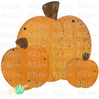 Pumpkin Trio Watercolor with Blue Accents Sublimation Design | Hand Drawn Art | Sublimation PNG | Digital Download | Printable Artwork | Art