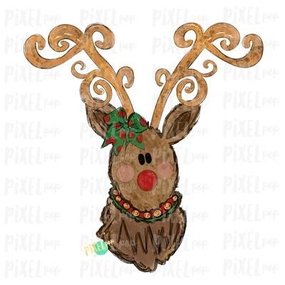 Reindeer Christmas Decorative Antlers with Bow (GIRL) Sublimation PNG | Reindeer Art | Digital Download | Printable Artwork | Clip Art