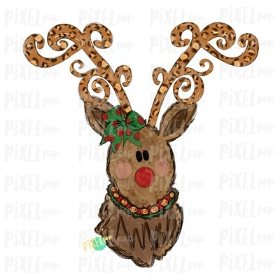 Reindeer Christmas Decorative Leopard Antlers with Bow (GIRL) Sublimation PNG | Reindeer Art | Digital Download | Printable Artwork | Clip Art