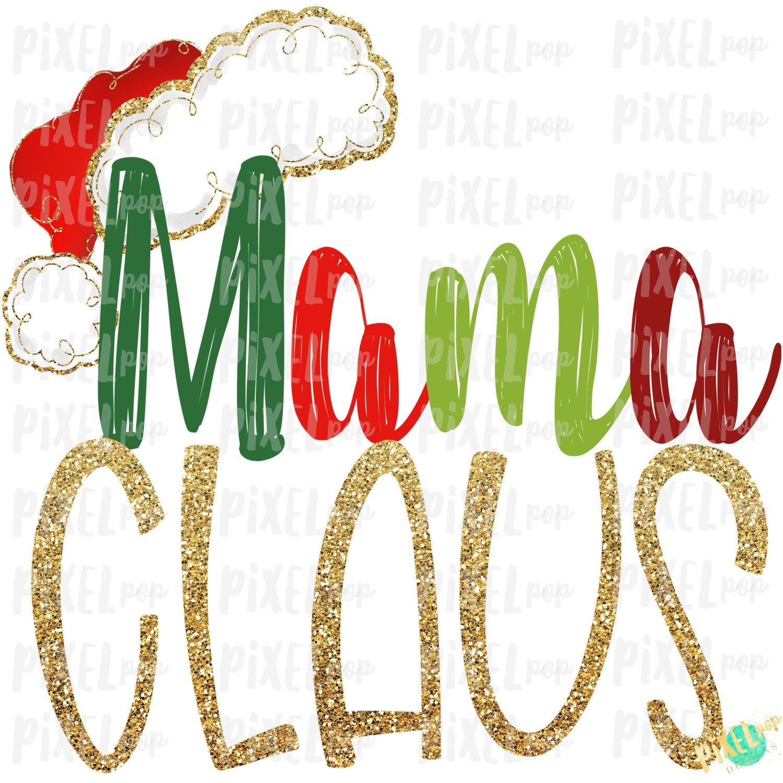 Mama Claus Santa Hat Digital Watercolor Sublimation PNG Art | Drawn Design | Sublimation PNG | Digital Download | Printable Artwork | Art