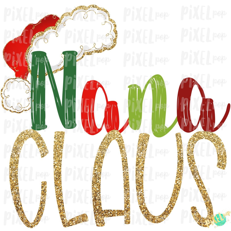 Nana Claus Santa Hat Digital Watercolor Sublimation PNG Art | Drawn Design | Sublimation PNG | Digital Download | Printable Artwork | Art