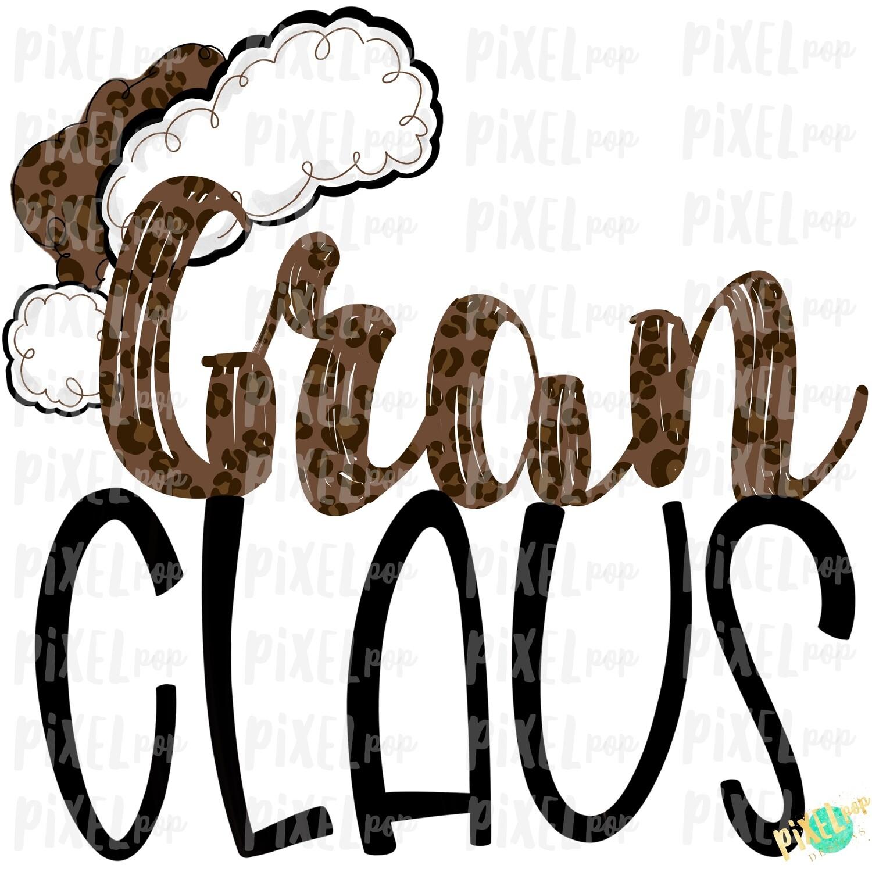 Gran Claus Leopard Santa Digital Watercolor Sublimation PNG   Drawn Design   Sublimation PNG   Digital Download   Printable Artwork   Art