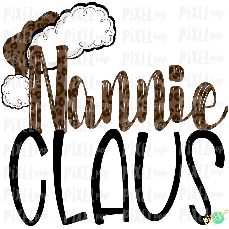 Nannie Claus Leopard Santa Digital Watercolor Sublimation PNG   Drawn Design   Sublimation PNG   Digital Download   Printable Artwork   Art
