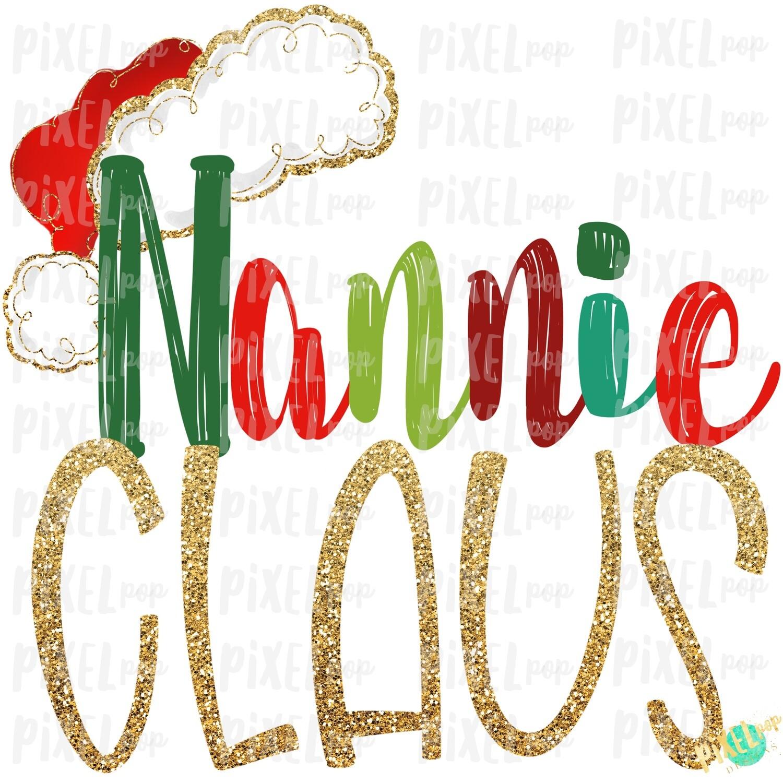 Nannie Claus Santa Hat Digital Watercolor Sublimation PNG Art | Drawn Design | Sublimation PNG | Digital Download | Printable Artwork | Art