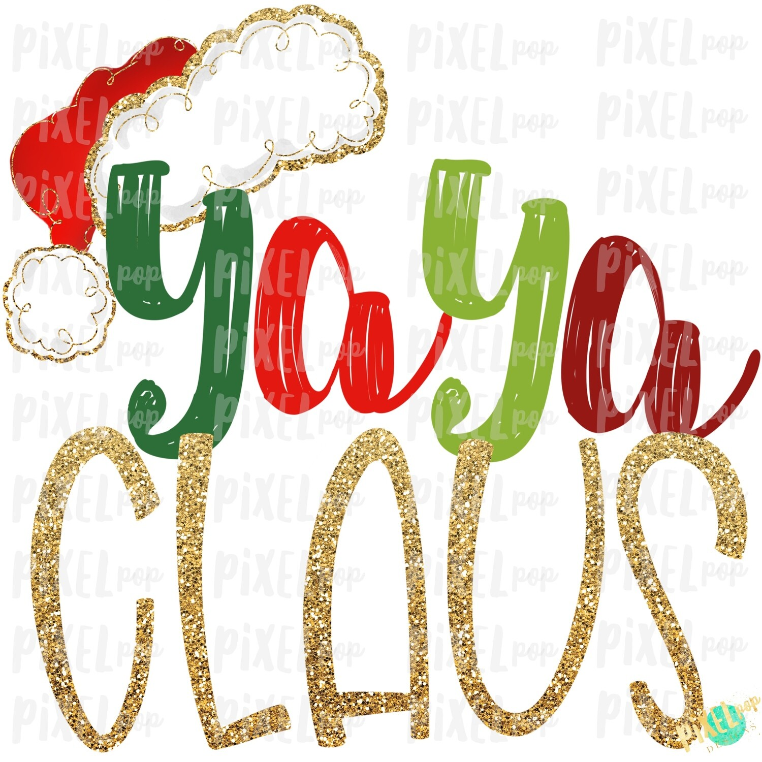 Yaya Claus Santa Hat Digital Watercolor Sublimation PNG Art | Drawn Design | Sublimation PNG | Digital Download | Printable Artwork | Art