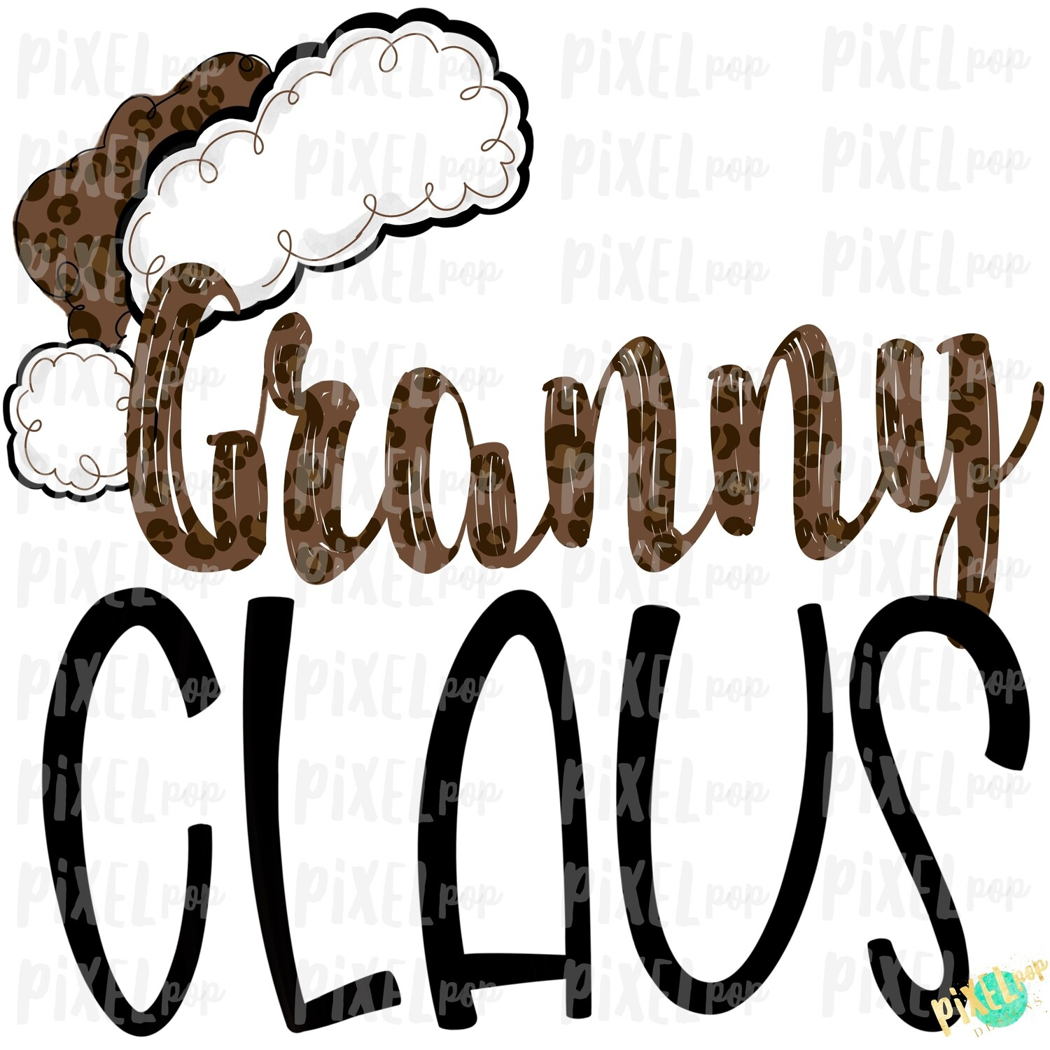 Granny Claus Leopard Santa Digital Watercolor Sublimation PNG | Drawn Design | Sublimation PNG | Digital Download | Printable Artwork | Art