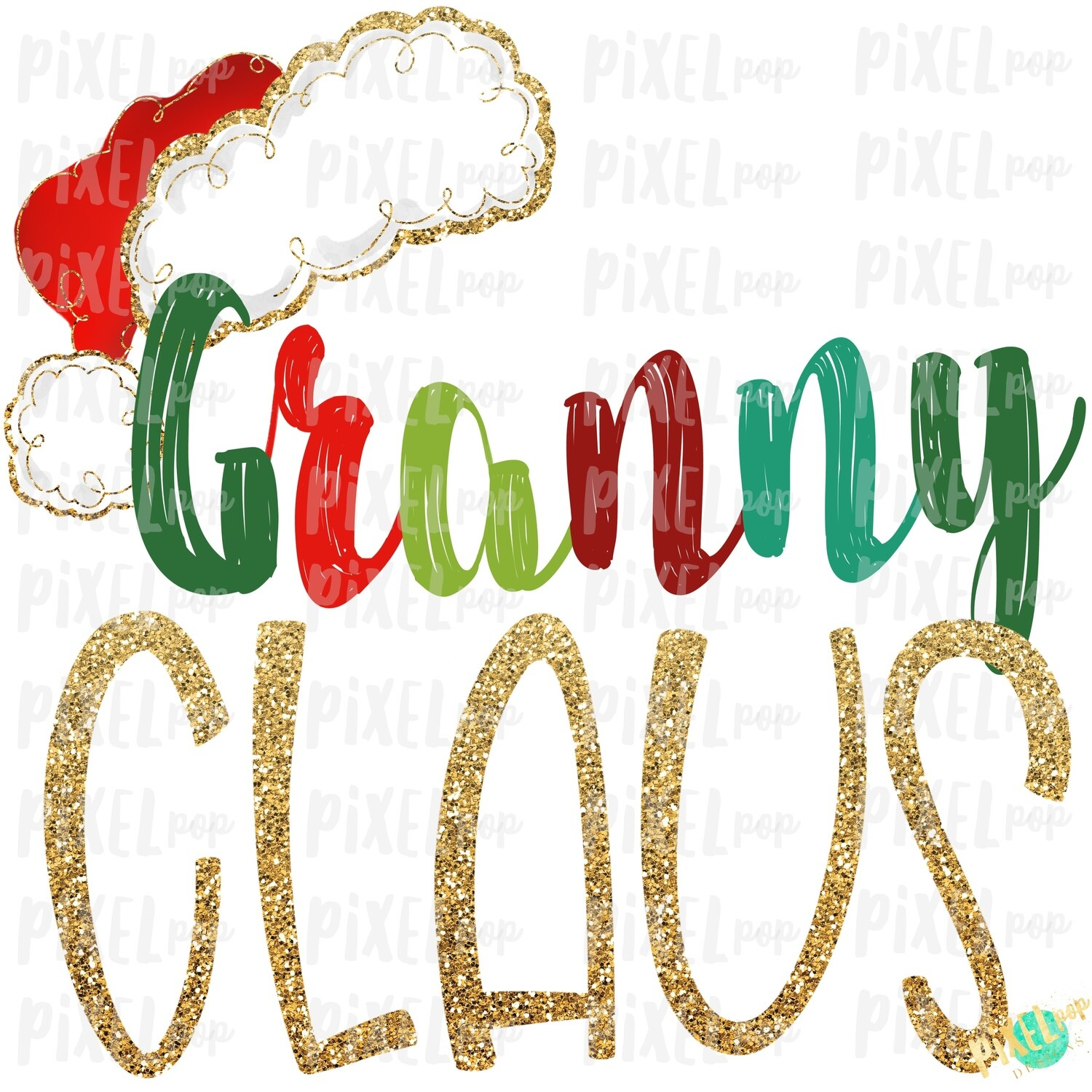 Granny Claus Santa Hat Digital Watercolor Sublimation PNG Art | Drawn Design | Sublimation PNG | Digital Download | Printable Artwork | Art
