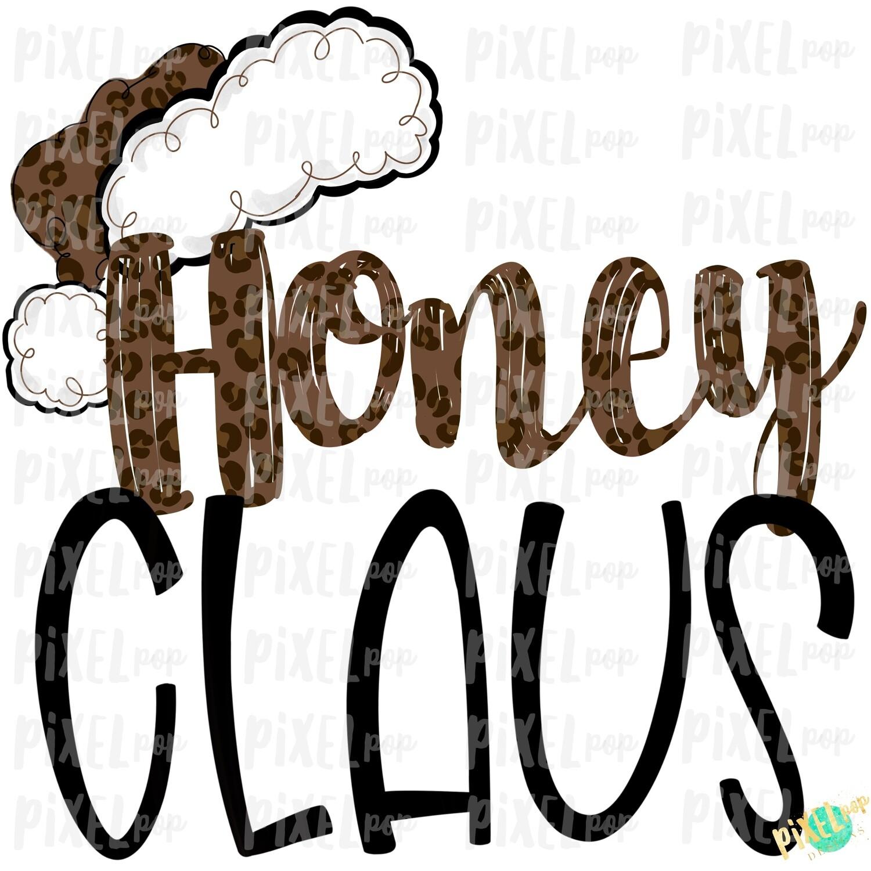 Honey Claus Leopard Santa Digital Watercolor Sublimation PNG | Drawn Design | Sublimation PNG | Digital Download | Printable Artwork | Art