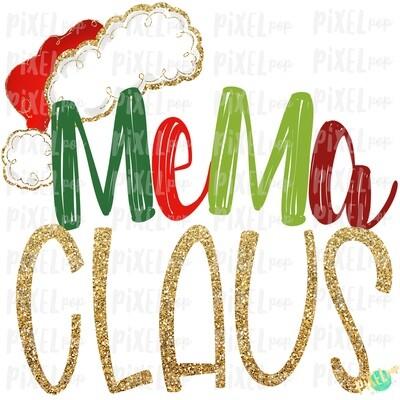Mema Claus Santa Hat Digital Watercolor Sublimation PNG Art | Drawn Design | Sublimation PNG | Digital Download | Printable Artwork | Art