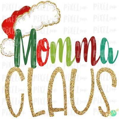 Momma Claus Santa Hat Digital Watercolor Sublimation PNG Art | Drawn Design | Sublimation PNG | Digital Download | Printable Artwork | Art