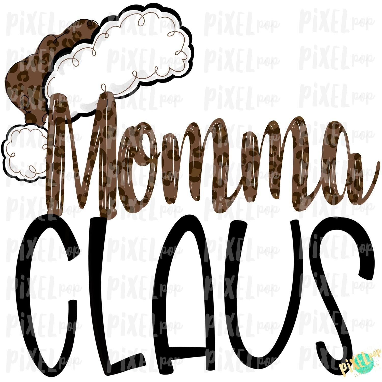 Momma Claus Leopard Santa Digital Watercolor Sublimation PNG | Drawn Design | Sublimation PNG | Digital Download | Printable Artwork | Art