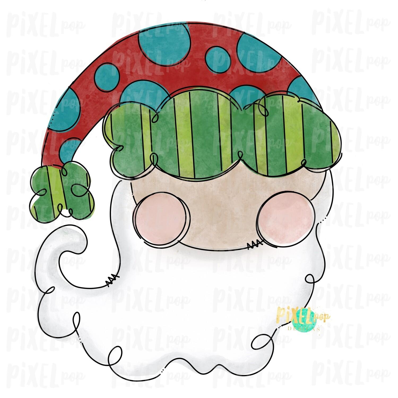 Whimsical Santa Claus Painted Digital Watercolor Sublimation PNG | Drawn Design | Clip Art PNG | Digital Download | Printable Artwork | Art