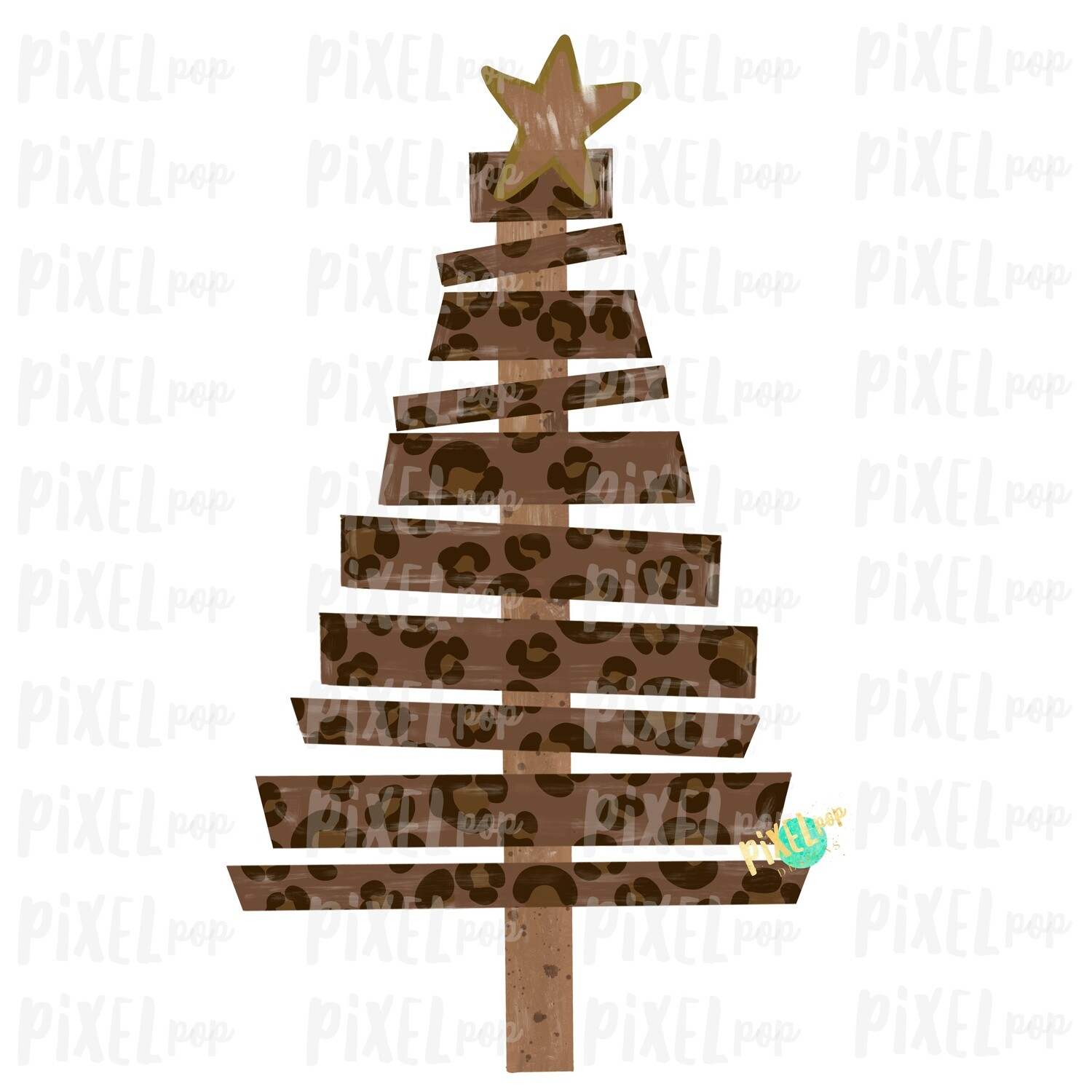 Wood Pallet Leopard Print Christmas Tree Sublimation PNG | Hand Painted Design | Sublimation PNG | Digital Download | Printable Artwork
