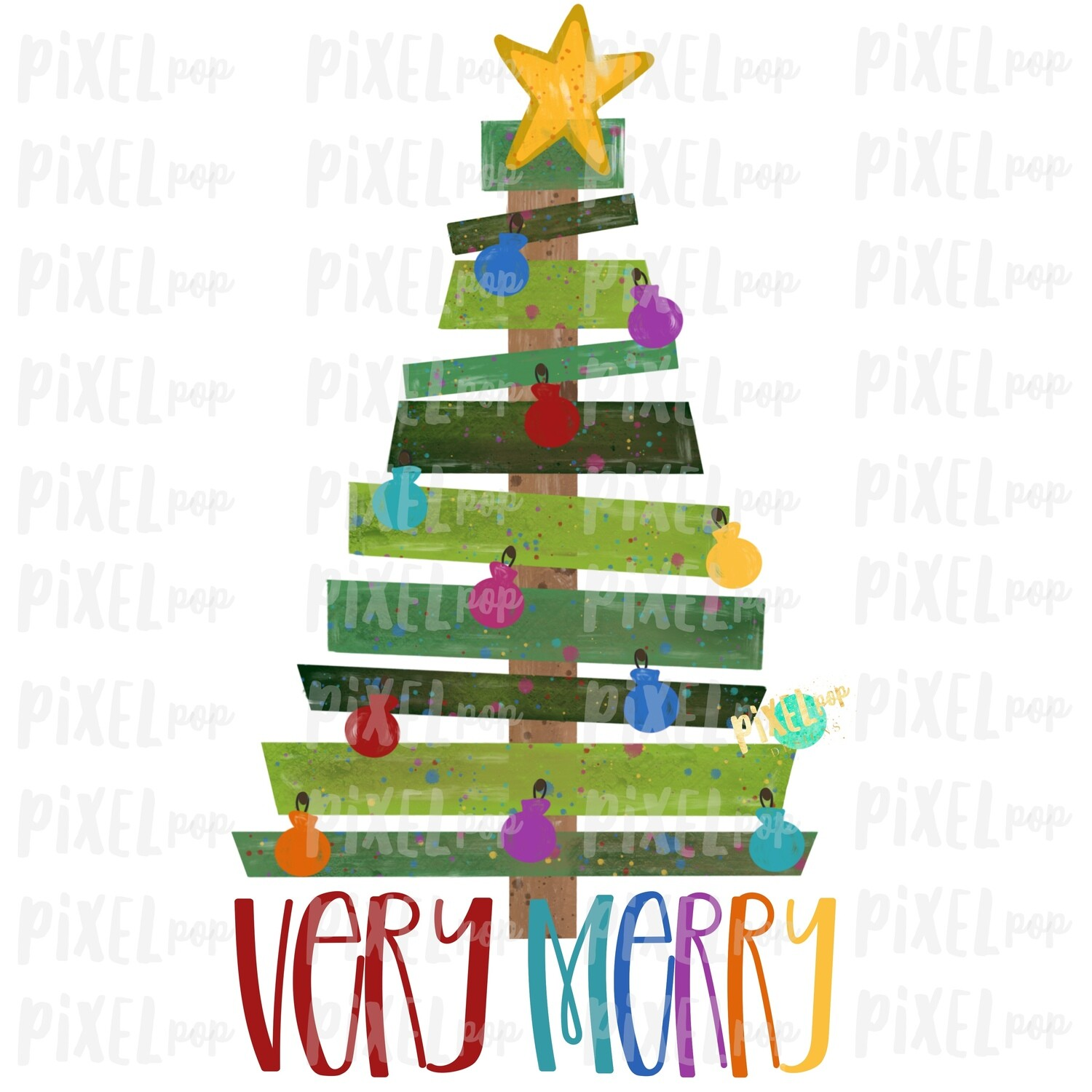 Very Merry Wood Pallet Christmas Tree Sublimation PNG | Hand Painted Design | Sublimation PNG | Digital Download | Printable Artwork