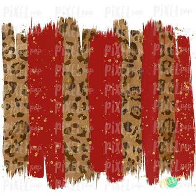 Christmas Leopard Red and Gold Brush Stroke Background Sublimation PNG | Glitter Gold Background | Holiday | Art | Digital Print | Printable