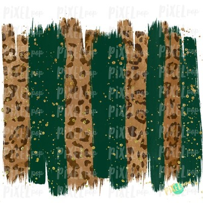 Christmas Leopard Hunter Green Brush Stroke Background Sublimation PNG | Glitter Gold Background | Holiday | Art | Digital Print | Printable