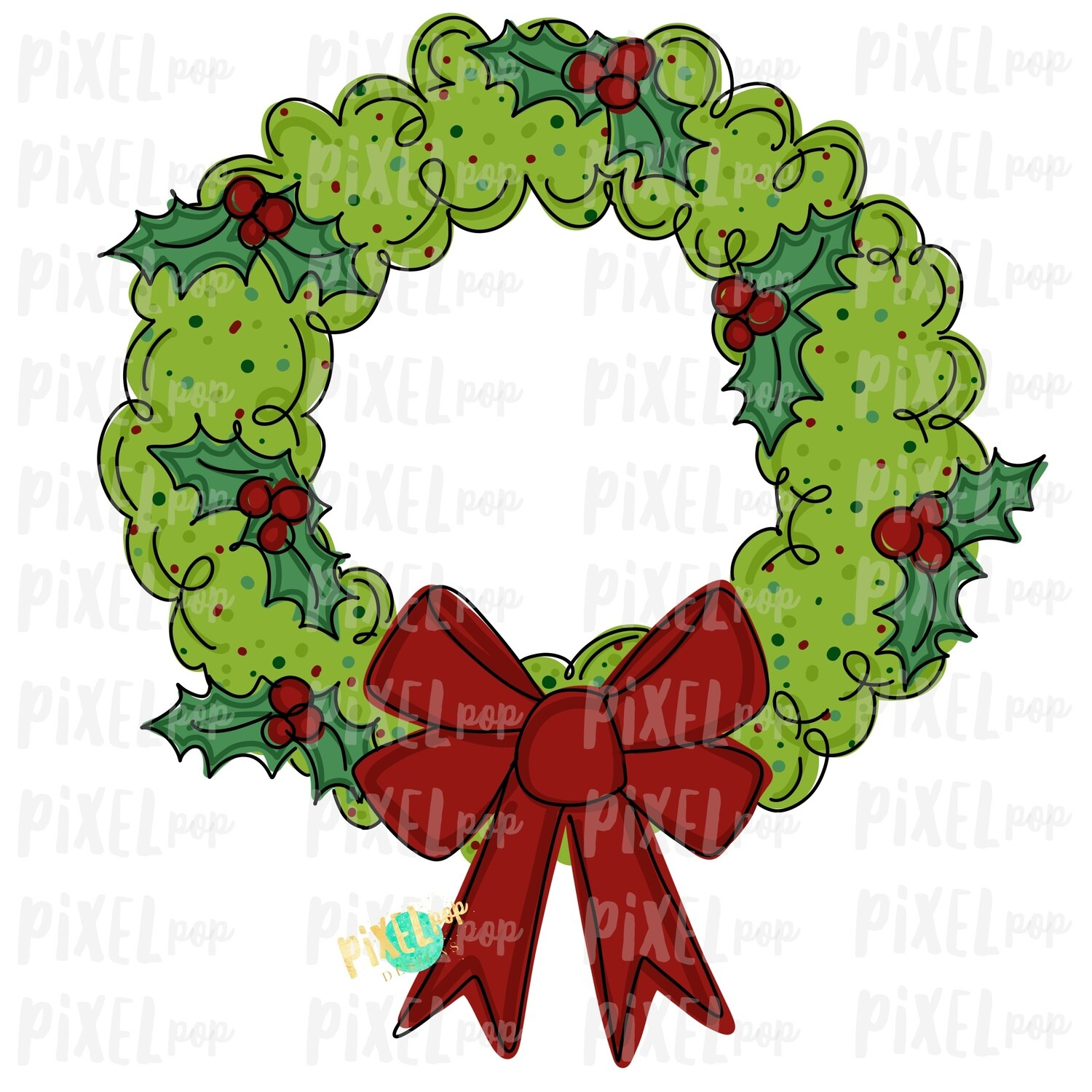 Whimsical Christmas Holly Wreath Sublimation PNG | Hand Drawn Art Sublimation PNG | Digital Download | Printable Artwork | Art
