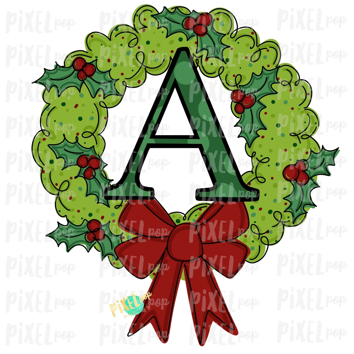 Whimsical Holly Wreath with A Monogram PNG | Christmas Sublimation | Hand Painted | Sublimation | Digital Download | Printable Artwork | Art