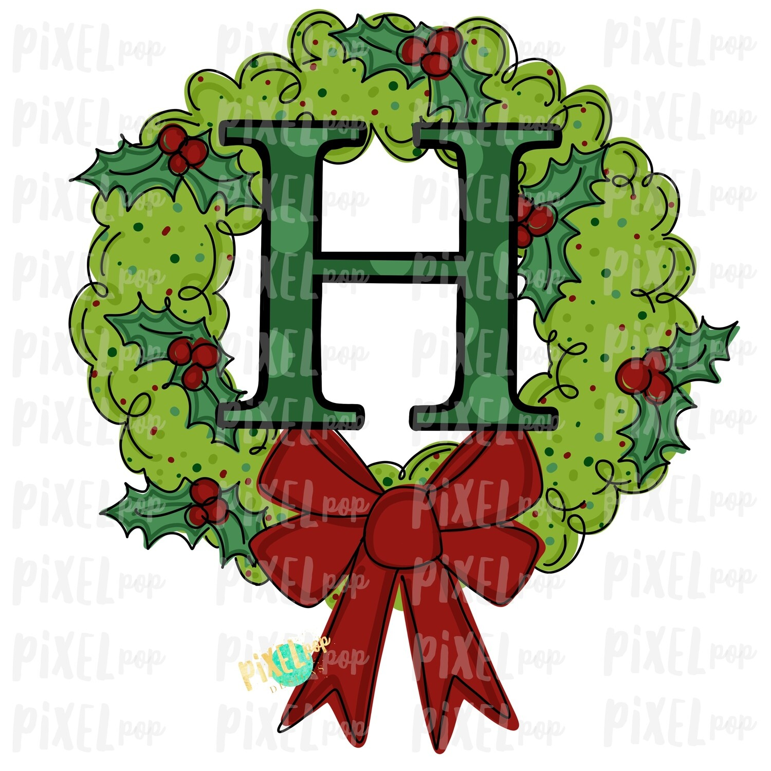 Whimsical Holly Wreath with H Monogram PNG | Christmas Sublimation | Hand Painted | Sublimation | Digital Download | Printable Artwork | Art