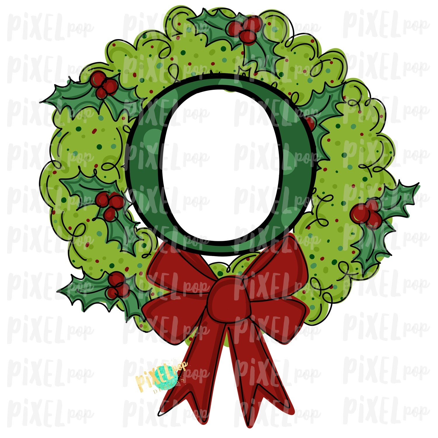 Whimsical Holly Wreath with O Monogram PNG | Christmas Sublimation | Hand Painted | Sublimation | Digital Download | Printable Artwork | Art