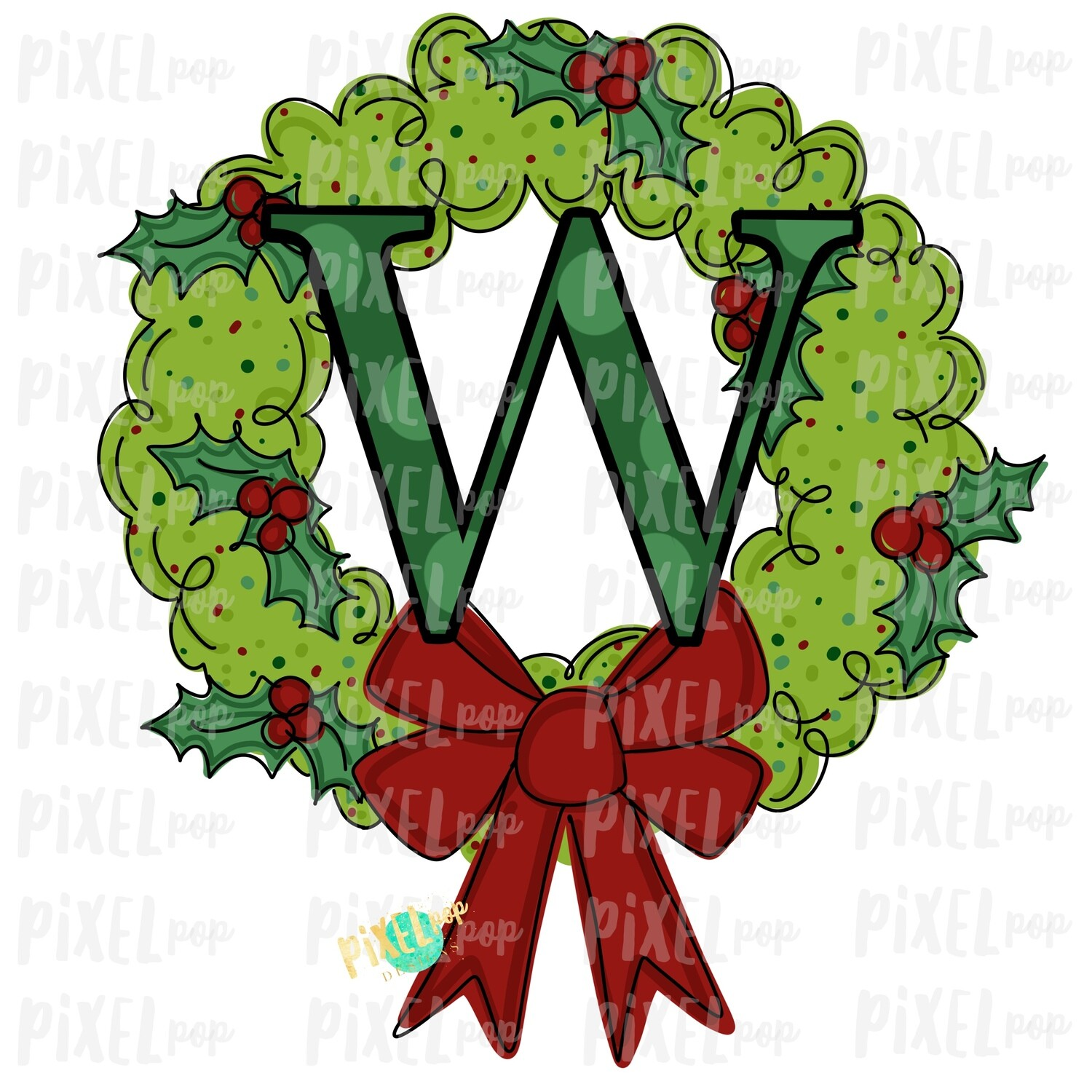 Whimsical Holly Wreath with W Monogram PNG | Christmas Sublimation | Hand Painted | Sublimation | Digital Download | Printable Artwork | Art