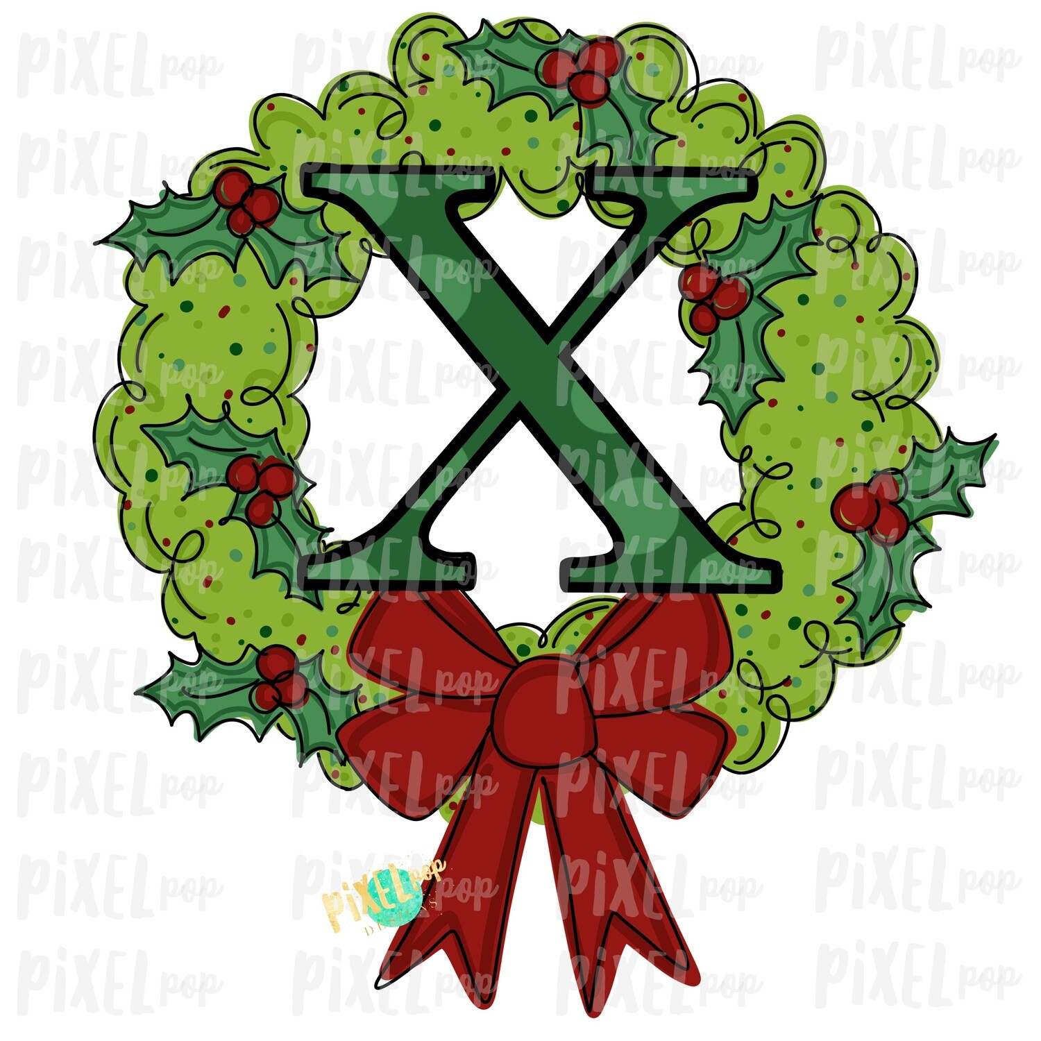 Whimsical Holly Wreath with X Monogram PNG | Christmas Sublimation | Hand Painted | Sublimation | Digital Download | Printable Artwork | Art