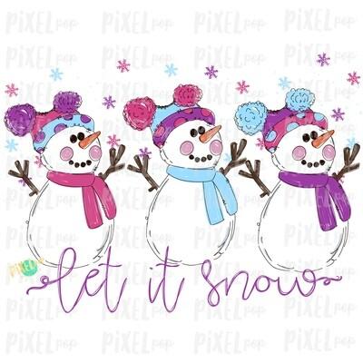Let it Snow Snowman Trio Pink & Purple Watercolor Sublimation PNG | Hand Drawn Design | Sublimation PNG | Digital Download | Printable Art