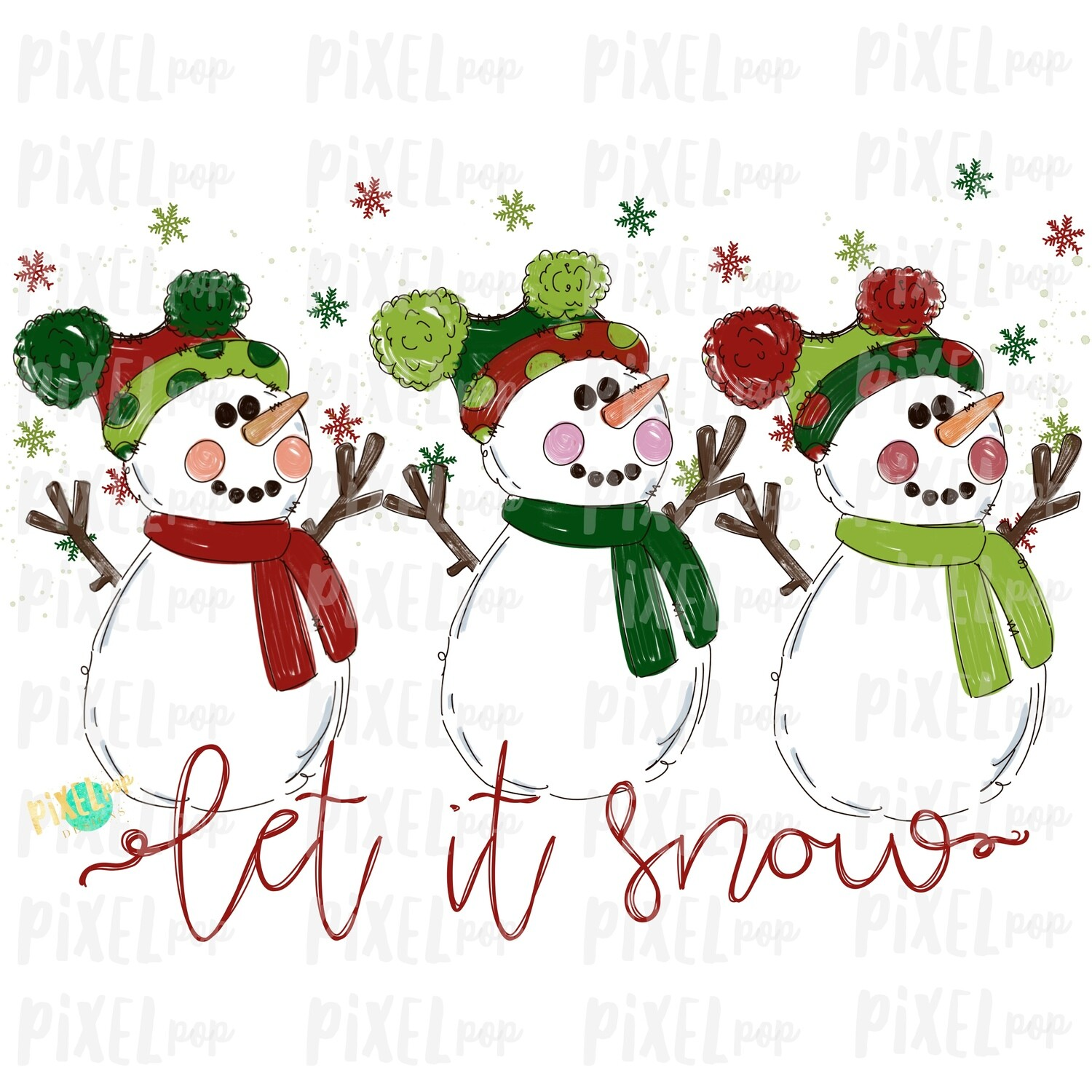 Let it Snow Snowman Trio Red & Green Watercolor Sublimation PNG | Hand Drawn Design | Sublimation PNG | Digital Download | Printable Art