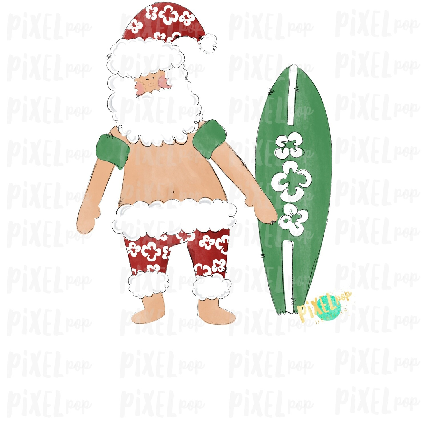 Beach Santa Surfer Ocean Sublimation PNG | Watercolor Santa | Santa Claus | Art | Sublimation PNG | Digital Download | Printable Artwork