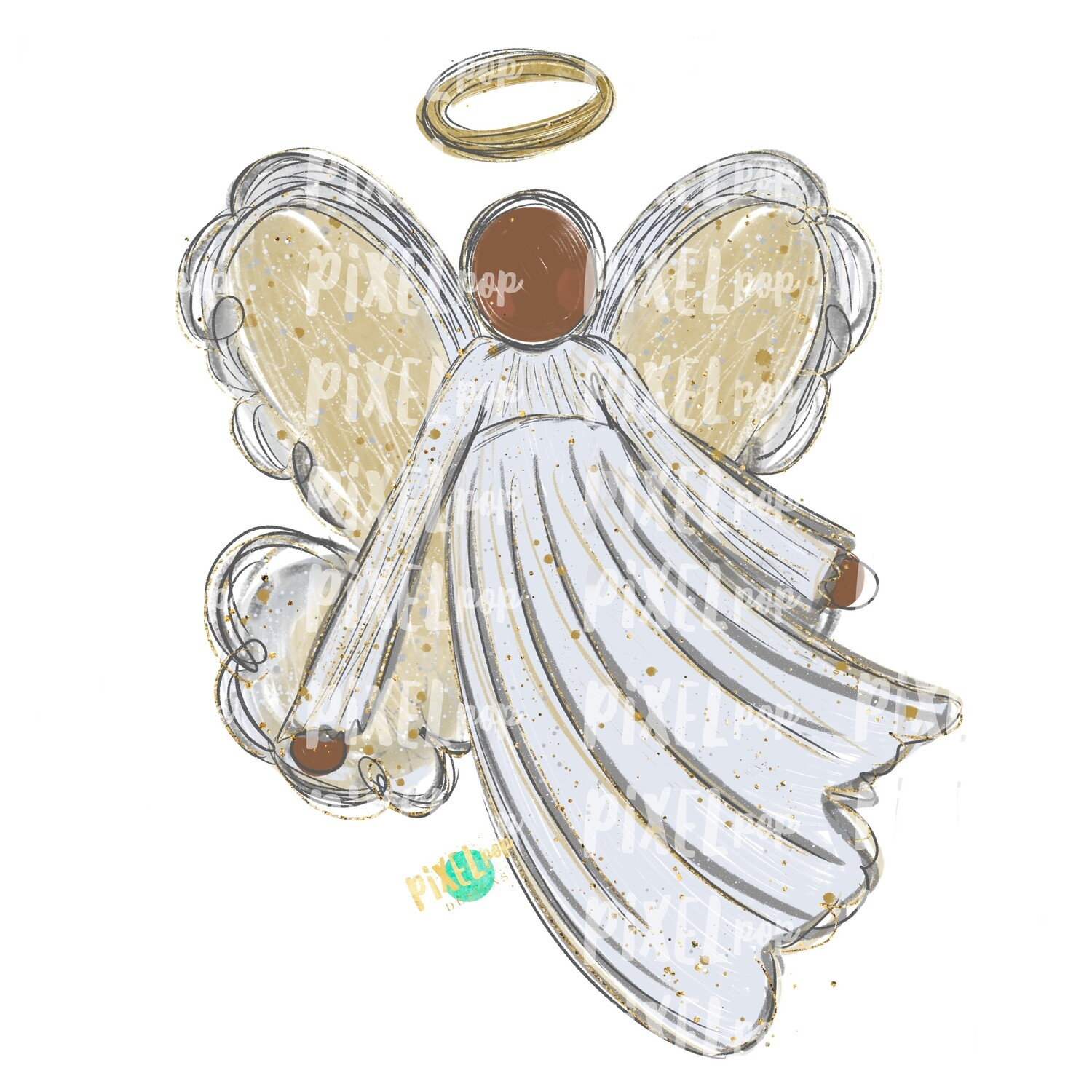 Dark Skin Angel Watercolor Digital Art Sublimation PNG | Ornament Design | Hand Painted | Digital Download | Printable | Christmas | Loss