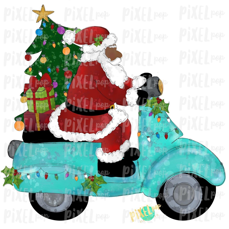 Moped Santa Dark Traditional SublimationPNG | Watercolor Santa | Santa Claus | Sublimation PNG | Digital Download | Printable Artwork | Art