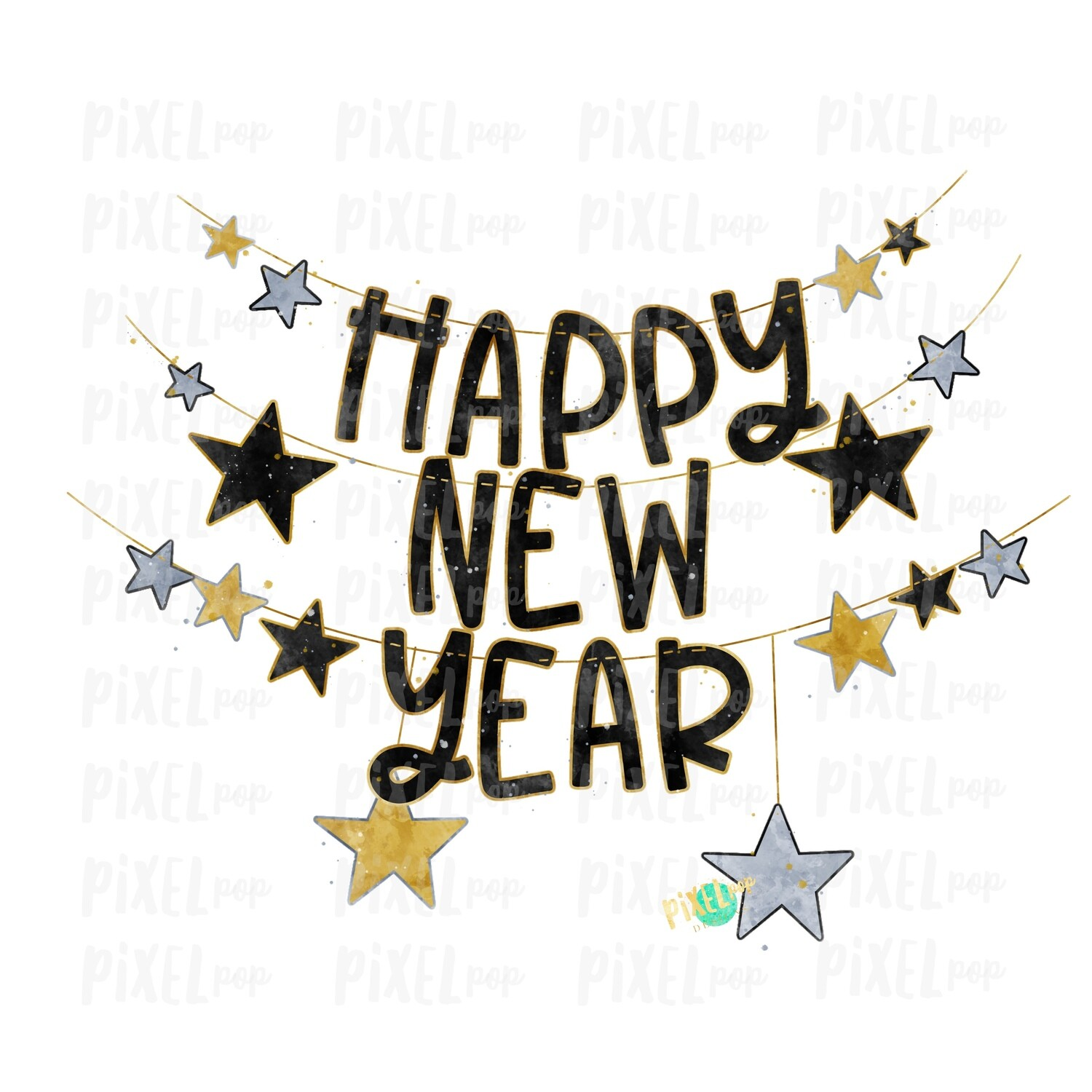 Happy New Year Banner New Year's Eve Sublimation Art PNG | Christmas Art | Drawn Design | Sublimation PNG | Digital Download | Printable