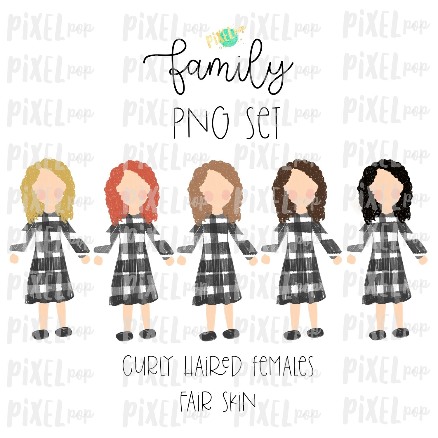 Curly Haired Females (Female E) with Fair Skin Tones Stick People Figure Family Members Set PNG Sublimation | Family Ornament | Portrait
