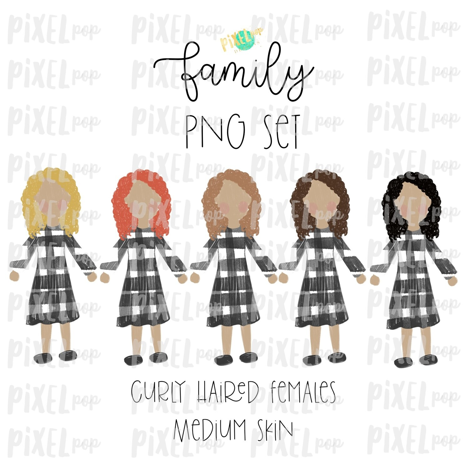 Curly Haired Females (Female E) with Medium Skin Tones Stick People Figure Family Members Set PNG Sublimation | Family Ornament | Portrait