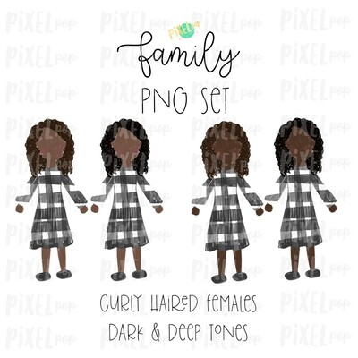 Curly Haired Females (Female E) with Dark & Deep Skin Tones Stick People Figure Family Members PNG Sublimation | Family Ornament | Portrait