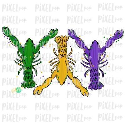 Mardi Gras Crawfish Fat Tuesday Art Sublimation PNG | New Orleans | Hand Painted Design | Mardi Gras Design | Digital Download | Clip Art