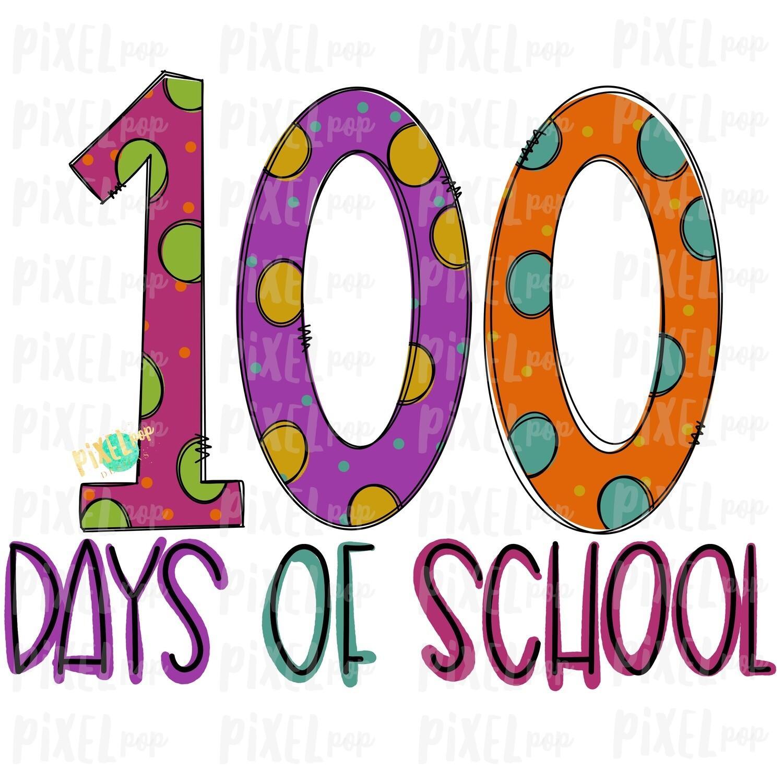 100 Days of School Design Pink Sublimation Art | School PNG| Hand Drawn PNG | Sublimation PNG | Digital Download | Printable Artwork | Art