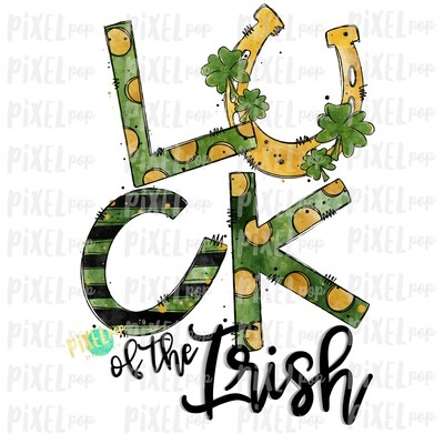 Luck of the Irish Saint Patrick's Day Sublimation PNG | Clover Horeshoe | Hand Painted Art | Digital Download | Printable | St. Paddy's Day