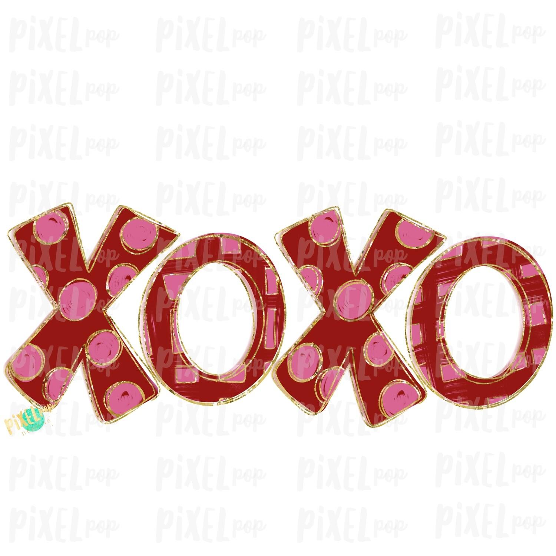 XoXo Gold Sparkle Valentine's Day Sublimation PNG | Valentine Art | XoXo Design | Hand Painted Art | Digital Download | Printable | Clip Art