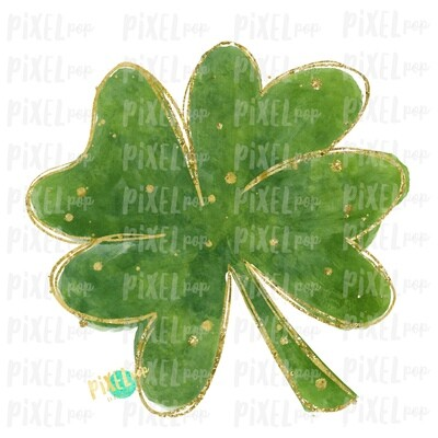 Four Leaf Clover Saint Patrick's Day Sublimation PNG | Clover Art | Design | Painted Art | Digital Download | Printable | St. Paddy's Day