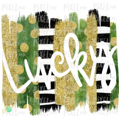 Lucky Cut-Out Brush Stroke Background Sublimation PNG | Design | Hand Painted Art | Digital Download | Printable | St. Paddy's Day