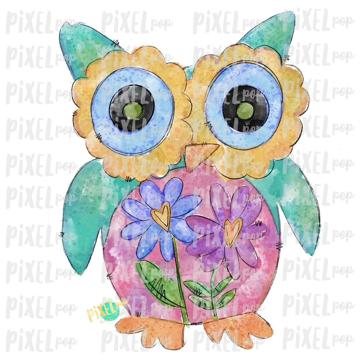 Owl Hand Painted Watercolor Valentines Day Sublimation PNG | Valentine Art | Owl | Printable Art | Digital Download | Printable | Clip Art