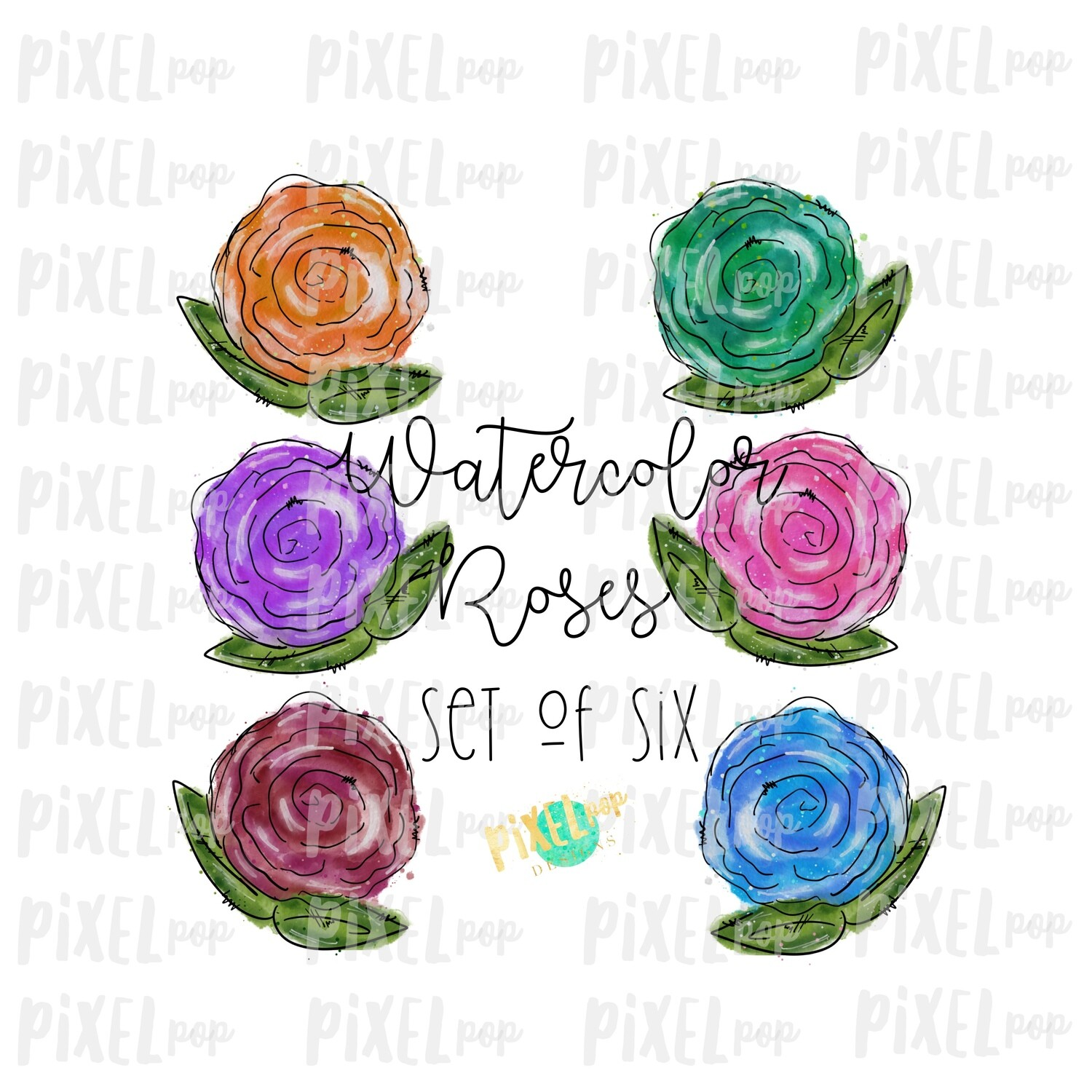Watercolor Roses (Set of Six) PNG Sublimation Design | Sublimation Design | Heat Transfer PNG | Digital Download | Printable Art | Digital Art