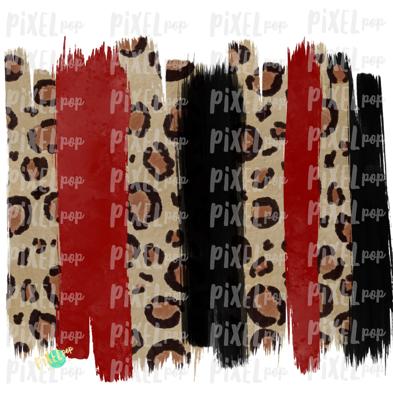 Black and Red Leopard Print Valentine Brush Stroke Background Sublimation PNG | Paint Strokes | Hand Painted | Digital Background | Printable