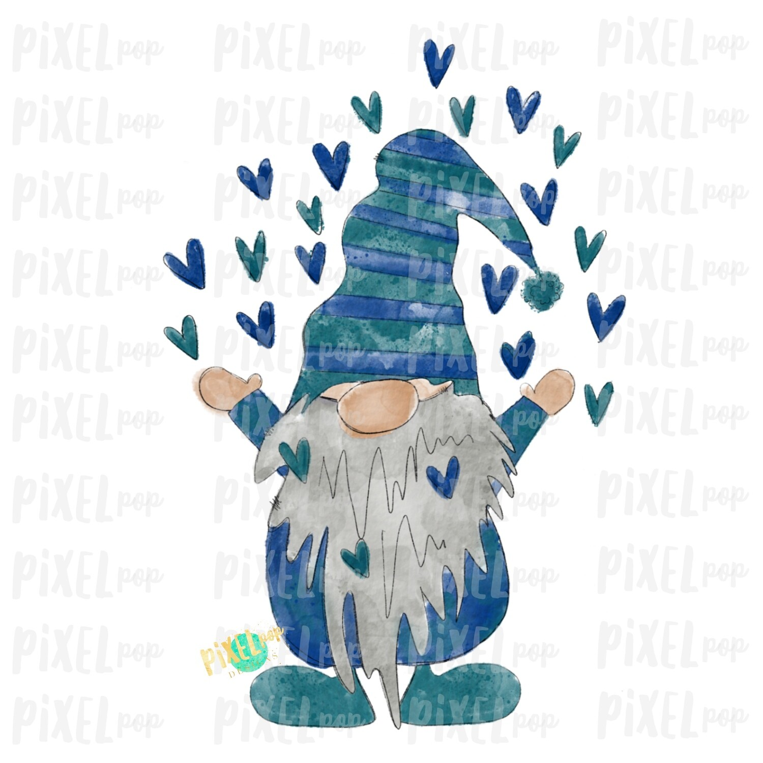 Valentine Heart Gnome Blue Watercolor Sublimation PNG | Gnome Digital | Valentines Day Gnome | Hearts Gnome | Watercolor Gnomes | Gnomes