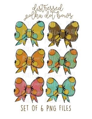Distressed Polka Dot Bows (Set of Six) Sublimation PNG | Hand Drawn Digital Design | Sublimation | Digital Download | Printable Artwork | Art