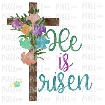 Watercolor Cross He is Risen Sublimation PNG Design | Hand Drawn Painted Design | Sublimation PNG | Digital Download | Printable Artwork
