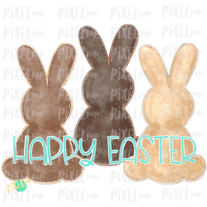 Brown Boy Bunnies Trio Watercolor Sublimation Design PNG | Easter Design | Bunny Design | Easter PNG | Sublimation Design | Watercolor Art